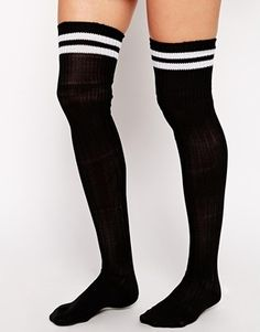 Asos 2 Stripe Over The Knee Socks - Black on shopstyle.co.uk