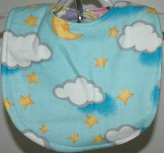 moon and clouds reversible bib and drool cloth by mickiesmuse, $10.00
