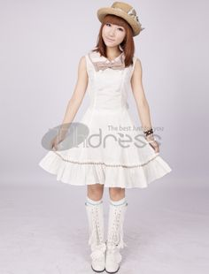 Lolita Dresses-White Pintuck Sleeveless Bow Double Breasted Cotton Classic Loli