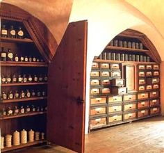 Herbal medicine and aromatherapy. I love this room!