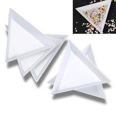 10ピース白いプラスチックトライアングルラウンドソートトレイツールネイルアートラインストーンビーズクリスタルツール