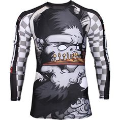 The Chess Gorilla Rashguard from Tatami is the perfect blend of impressive artwork with reliable technical specs! BJJ is a game of chess - are you a master? 80% Polyester 20% Spandex Detailed sublimation graphics  Tatami Fightwear logo on front, back, and sleeves Original artwork Panel design Seams are secured by flatlock stitching