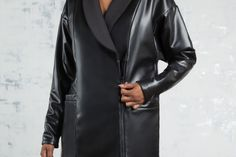 Reversible Faux Leather & Neoprene Peacoat in Black | #WeRevel #playinyourpower