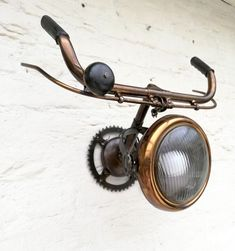 Bicycle Parts Art, Bicycle Art, Industrial Wall Lights, Bronze Dragon, Restaurant Furniture, Metal Furniture, Bronze Sculpture, Porch Decorating, Cheap Home Decor