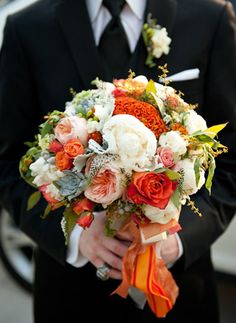 Orange DC Wedding by Michelle Lindsay Photography « Southern Weddings Magazine - Holly Chapple Flowers