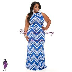 New Plus Size Crop Top and Skirt Set Blue and White ZigZag Print  available at www.chicandcurvy.com