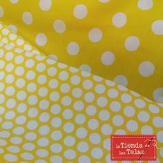 #lunares amarillos!!!! En tienda tenemos en más tamaños...para que puedas hacer contraste de #volantes con diferentes #tejidos