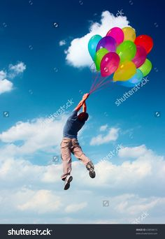 person flying with balloons - Google Search