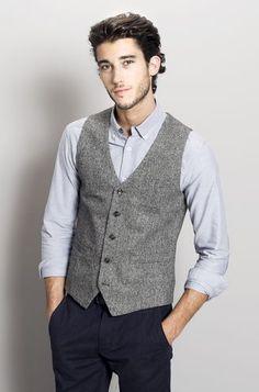 gilet de costume en tweed gris fantaisie homme la mode. Black Bedroom Furniture Sets. Home Design Ideas