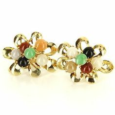 Vintage 14 Karat Yellow Gold Jade Cocktail Cluster Earrings Fine Estate Jewelry $395