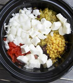 Crockpot Chicken with beans, chilis, cream cheese