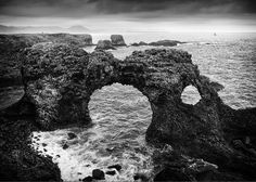 Iceland Greeting Card featuring the photograph Iceland Cliff Coast Black And White by Matthias Hauser