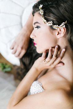 Gold plated white Rhinestone Leaf Vine | Bridal hair accessory 2015