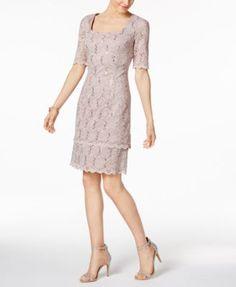 ecc58e3b2338 Alex Evenings Sequin-Lace Sheath Dress