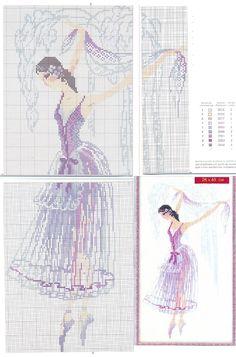 0 point de croix danseuse en tutu transparent - cross stitch ballet dancer in transparent tutu