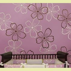 flower stencils  - this website sells a bunch of different stencils for painting walls and fabric
