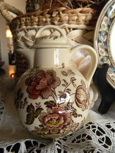 Brown Transferware Pitcher Charlotte Basket