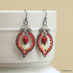 Red Lady Bug Dangle Earrings Bright Color by WillOaksStudio