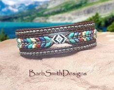 Leather Jewelry, Leather Cord, Leather Bracelets, Leather Craft, Beaded Cuff Bracelet, Wrap Bracelets, Small Earrings, Diy Earrings, Hippie Jewelry