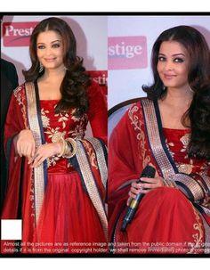 Chiffon Saree, Saree Dress, Sari, Bollywood Designer Sarees, Aishwarya Rai, Red, Stuff To Buy, Shopping, Dresses