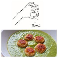 Velvet sauce made of courgettes and peas with turkey meatballs!