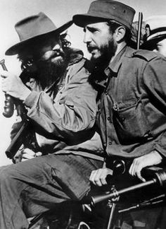 Camilo Cienfuegos (left of Castro), one of the forgotten leaders of the Cuban revolution. He probably died in a plane crash flying over the ocean. On every October 28 school children from all over Cuba throw flowers into the sea (or into a river if they live inland) to honor Camilo Cienfuegos.