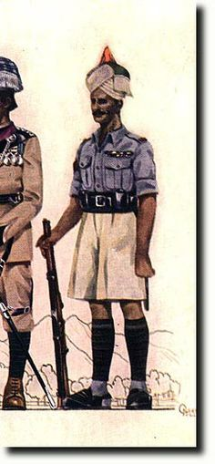 Havildar of 5th/13th Frontier Force Rifles Hot weather service dress c1930. The turban is pale drab with a red kullah and green end and white fringe. His blue shirt has black stripes on a red backing on the right sleeve. He has a blue kummerbund under his black leather belt.