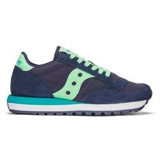 Saucony Women's Jazz Original Trainers - Navy/Mint (€83) ❤ liked on Polyvore featuring shoes, sneakers, saucony shoes, mint sneakers, navy blue shoes, mint green shoes and navy blue flat shoes