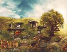 "_11x14""_$27_13x17""_$35__ The_Shire, A Hobbit House' Illustration inspired by J.R. Tolkien's 'The Hobbit'. Completed in 2009. The stories Tolkien created have influenced and inspired me since childhood. Like many others I dream of living in a hobbit hole of my own someday. This is my vision of what it would be like... Fantasy mixed media artwork using stock photography overlaid with many weeks of painting. If you would like to learn more about my process please visit my website:"