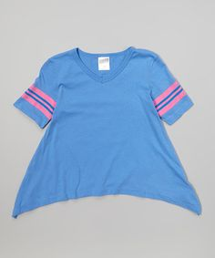 Another great find on #zulily! Ultra Marine & Neon Pink Stripe Sidetail Tee - Girls by Soffe #zulilyfinds