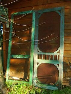 Antique Vintage Primitive Authentic Victorian Farmhouse Porch Screen Doors Old Green Paint - Iron -Architectural Salvage. Vintage Screen Doors, Old Screen Doors, Old Doors, Salvaged Doors, Porch Doors, Entry Doors, Farmhouse Style Curtains, Victorian Farmhouse, Victorian House