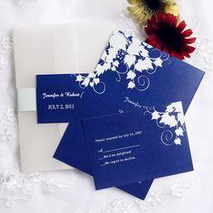 simple royal blue pocket wedding invites with free rsvp cards EWPI060