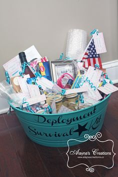 Welcome home basket military homecoming carepackage army wife deployment survival kit gift basket idea diy negle Image collections