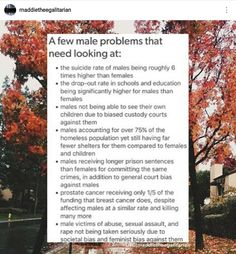 Actually feminists are working to help these issues too (that's why I'm pinning it)
