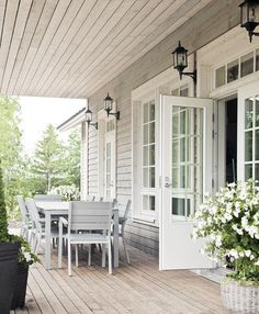 Veranda with table Exterior Design, Interior And Exterior, Exterior Windows, Outdoor Rooms, Outdoor Living, White Cottage, Cottage Porch, Porch And Balcony, Decks And Porches