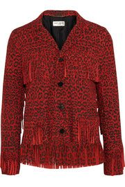Fringed leopard-print suede jacket #saintlaurent