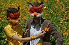 Par de imitación piel zorro máscaras, hecho a mano por desfile de espíritu