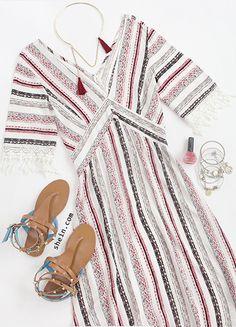 vintage-beach-maxi-fringe-deep v neck-stripe-dress-outfit