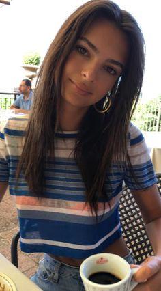 Who made Emily Ratajkowski's blue stripe top?