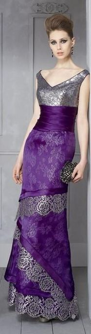 I'd cut off the bottom layer and leave the upper lace trim as the new hem. The rest becomes a stole. I Higar 2012 Evening Collection Purple Fashion, Look Fashion, Evening Dresses, Prom Dresses, Wedding Dresses, Beautiful Gowns, Beautiful Outfits, Pretty Outfits, Mode Glamour