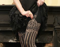 Burlesque Leggings - Womens Legging - BLACK - Garter leggings - printed Tights - suspender tights - MEDIUM