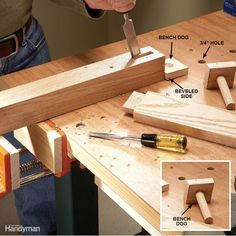 You don't need a super-expensive vise or fancy clamps to hold large projects while you work on them. An inexpensive woodworker's vise paired with shop-made bench dogs will do the trick. We ordered this adjustable clamp medium-duty vise online. You may have to cut and notch your workbench to make the vise fit. The goal is to align the top of the jaw flush with the top of the bench. If your workbench is less than 3/4 in. thick, reinforce it by gluing and screwing a 2x4 block underneath the…