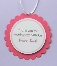 handmade KITTEN birthday favor tags by plumcakeparties on Etsy, $6.95