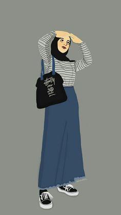 Dress Design Sketches, Fashion Sketches, Cover Wattpad, Hijab Drawing, Islamic Cartoon, Anime Muslim, Hijab Cartoon, Girly Drawings, Pop Art Design