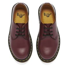 Dr. Martens Originals 1461 3-Eye Smooth Leather Gibson Shoes - Cherry... (775 HRK) ❤ liked on Polyvore featuring shoes, platform lace up shoes, low heel platform shoes, low heel shoes, laced up shoes and laced shoes