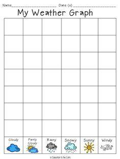 7 Best Images of Kindergarten Weather Graph Printable - Preschool Weather Chart Graph, Weather Graphs Free Printables and Free Printable Graph Worksheets for Kids First Grade Science, Kindergarten Science, Preschool Math, Science Classroom, Teaching Science, Kindergarten Calendar Math, Preschool Weather Chart, Weather Activities Preschool, Weather Kindergarten