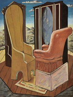 Giorgio de Chirico (Italian, 1888-1978), Mobili nella valle [Furniture in the valley], 1963. Oil on canvas, 80 x 60 cm.