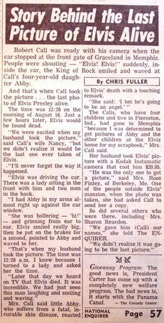 Story behind the last picture of Elvis alive.