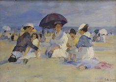"""Martha Walter (American, 1875-1976), Ladies and Their Children at the Beach, oil on canvas laid on board, signed lower right, canvas: 18""""h x 25.5""""w, overall (with frame): 25""""h x 32.5""""w. Provenance: Originally purchased from Galerie Giordano di Palma."""