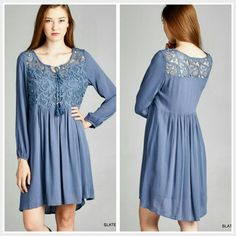 The Erica Dress in size S M L Beautiful embroidery detailed dress,  lace yoke with long sleeve,  in a gorgeous slate blue shade Fully lined,  non sheer Material is rayon and polyester  Size Available S M L  Please indicate your size   PRICE FIRM UNLESS BUNDLED  Follow me on Facebook Sweet-bb Boutique  Dresses Long Sleeve